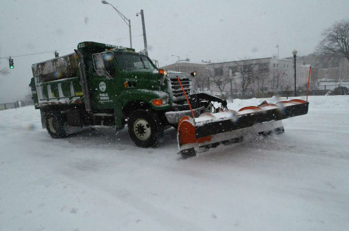 City on Norwalk Dept. of Public Works snowplows keeepin the streets clear as heavy snow falls on Thursday February 9, 2017 in Norwalk Conn