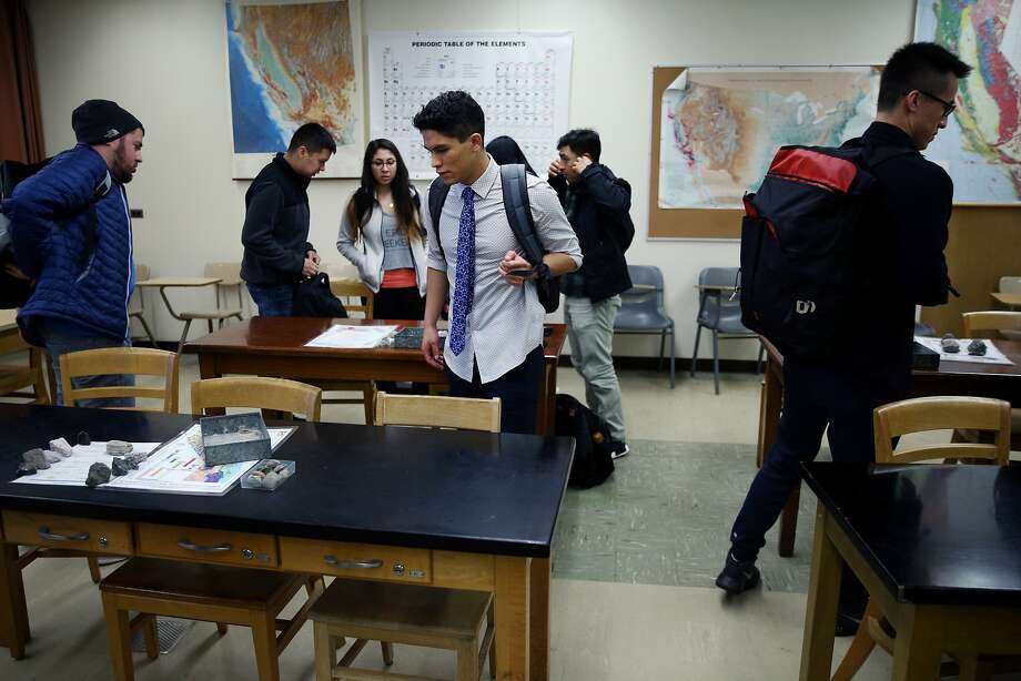 Center: Edgar Sanchez Lopez picks his seat at geology class at San Jose State University on Thursday, Feb. 9, 2017, in San Jose, Calif. Lopez, age 20, is an undocumented student with temporary legal status under Deferred Action for Childhood Arrivals (DACA). He is a sophomore student at SJSU, studying civil engineering. Lopez was brought to California from Mexico City when he was ten years old. Photo: Santiago Mejia, The Chronicle
