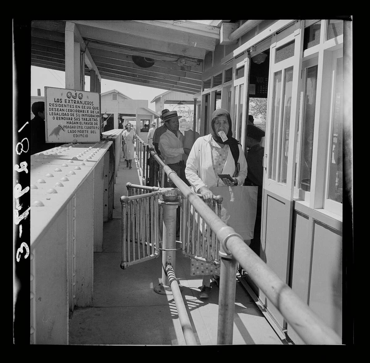 Mexicans entering the United States at the U.S. immigration station in El Paso, Texas, June 1938.