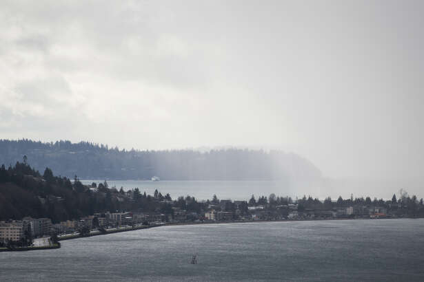 Rain approaches West Seattle on Thursday afternoon, Feb. 9, 2017.