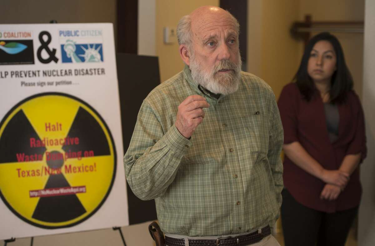 """Tom """"Smitty"""" Smith, director of PublicCitizen Texas office, speaks Thursday 02-09-17 during a press conference about how citizens can make their voice heard concerning the action of Waste Control Specialists in Andrews County changing to a high level nuclear waste depository. Tim Fischer/Reporter-Telegram"""