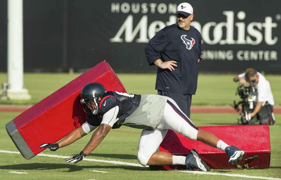 Second-year player Kendall Lamm goes through drills at Texans training camp in Houston in 2016. Photo: Brett Coomer /Houston Chronicle / © 2015 Houston Chronicle