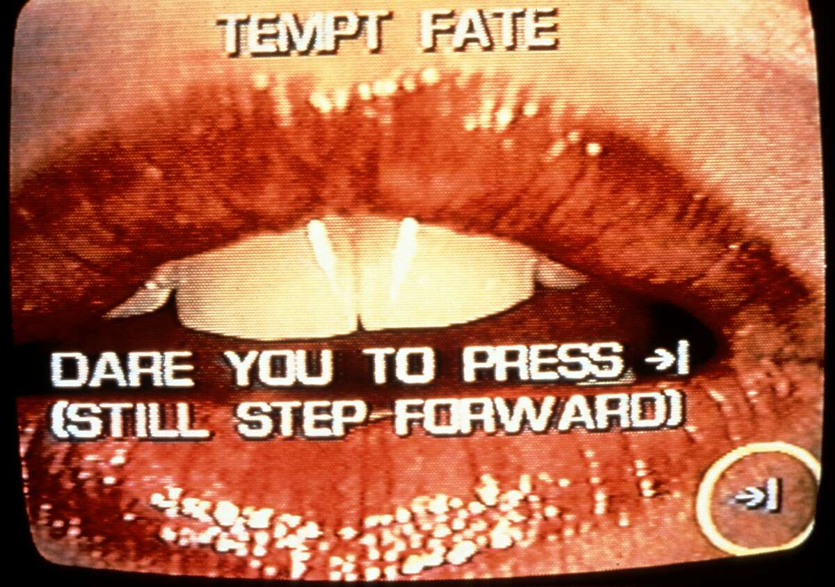 """Lynn Hershman Leeson, """"Lorna"""" (1984), a video still from the exhibition """"Civic Radar"""" at the Yerba Buena Center for the Arts."""