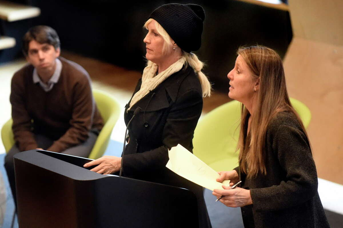 Environmental activist Erin Brockovich, center, is joined by attorney James Bilsborrow, left, and Environmental Dept. head Robin Greenwald, both of Weitz & Luxenberg, during a community meeting addressing the PFOA groundwater contamination in the village and wells in the Town of Hoosick on Saturday, Jan. 30, 2016, at Bennington College in Bennington, Vt. (Cindy Schultz / Times Union)