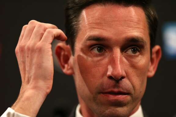 Kyle Shanahan during a news conference at Levi's Stadium on Thursday, Feb. 9, 2017 in Santa Clara, Calif. Shanahan was introduced as the new head coach for the San Francisco 49ers.