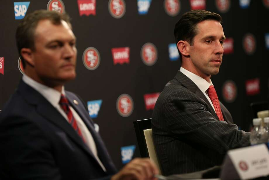 John Lynch and Kyle Shanahan during a news conference at Levi's Stadium on Thursday, Feb. 9, 2017 in Santa Clara, Calif.  Photo: Santiago Mejia, The Chronicle