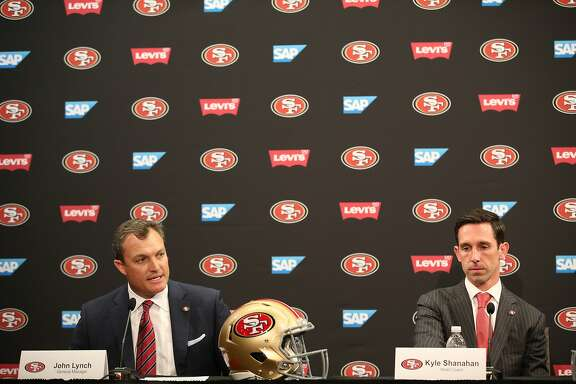 From left: John Lynch and Kyle Shanahan during a news conference at Levi's Stadium on Thursday, Feb. 9, 2017 in Santa Clara, Calif. Shanahan was introduced as the new head coach for the San Francisco 49ers and John Lynch as the new general manager.