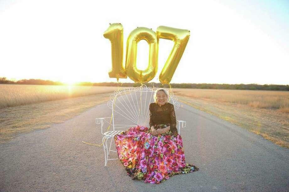 Luz Gamboa Rangel, of Crystal City, celebrated her 107th birthday on Feb. 8. Photo: Courtesy, Kathylina Acosta & Korissa Felan