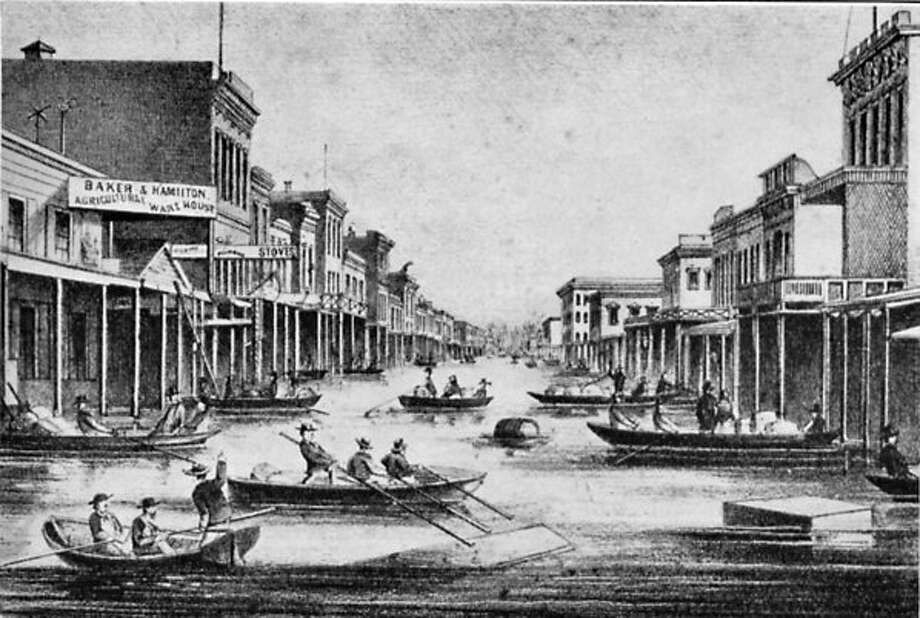 Sacramento underwater due to floods in an 1862 rendering that ran in local papers. Photo: Archive