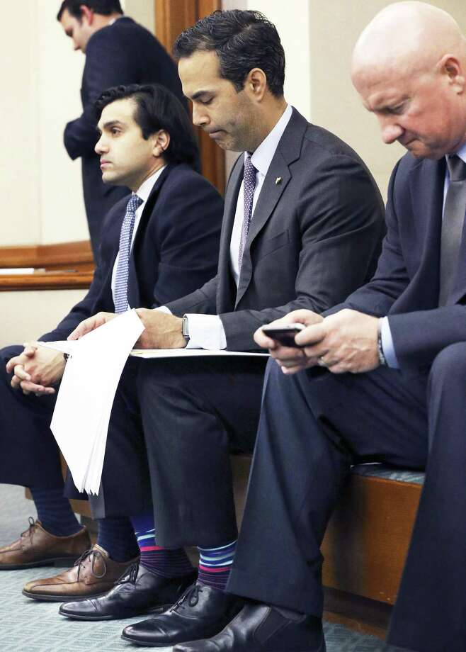 Texas Land Commissioner George P. Bush studies his notes before taking the floor as the Senate Finance Committee hears presentations at the Capitol on February 9, 2017. Photo: Tom Reel, Staff / San Antonio Express-News / 2017 SAN ANTONIO EXPRESS-NEWS