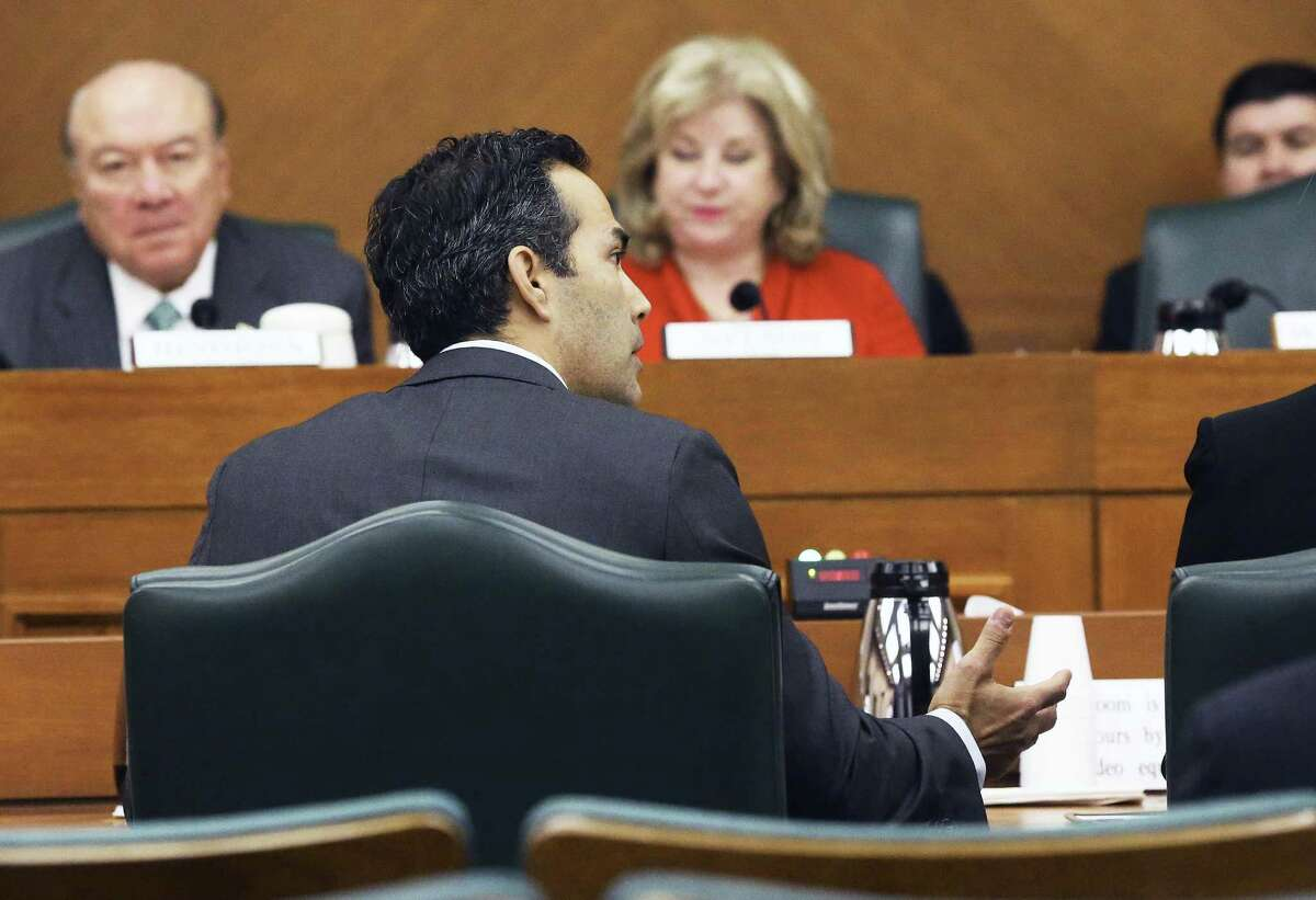 Texas Land Commissioner George P. Bush empahsizes a point in his budget as the Senate Finance Committee hears presentations at the Capitol on February 9, 2017.