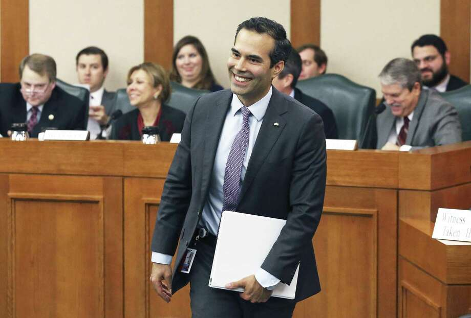 Texas Land Commissioner George P. Bush draws smiles after his testimony as the Senate Finance Committee hears presentations at the Capitol on February 9, 2017. Photo: Tom Reel, Staff / San Antonio Express-News / 2017 SAN ANTONIO EXPRESS-NEWS
