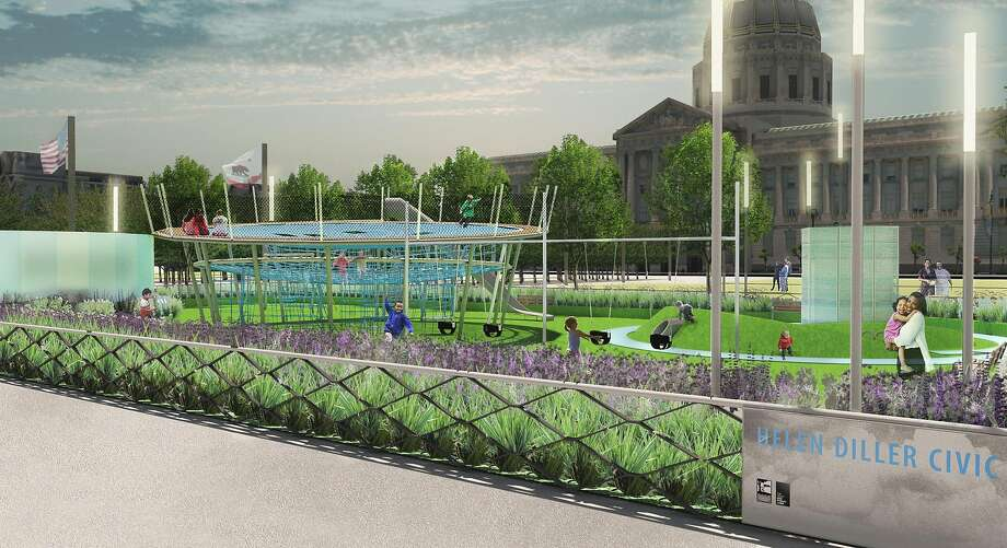 A rendering that shows the new playgrounds designed by Andrea Cochran Landscape Architecture for the east side of Civic Center Plaza. The groundbreaking is Feb. 14, 2017, and the spaces should open by the end of the year. The $10 million project is being managed for the city's Recreation and Parks Department by the Trust for Public Grant, and it is being funded by a gift from the Helen Diller Family Foundation. Photo: Anooshey Rahim, Andrea Cochran Landscape Architecture