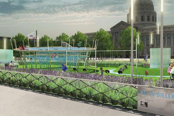 A rendering that shows the new playgrounds designed by Andrea Cochran Landscape Architecture for the east side of Civic Center Plaza. The groundbreaking is Feb. 14, 2017, and the spaces should open by the end of the year. The $10 million project is being managed for the city's Recreation and Parks Department by the Trust for Public Grant, and it is being funded by a gift from the Helen Diller Family Foundation.