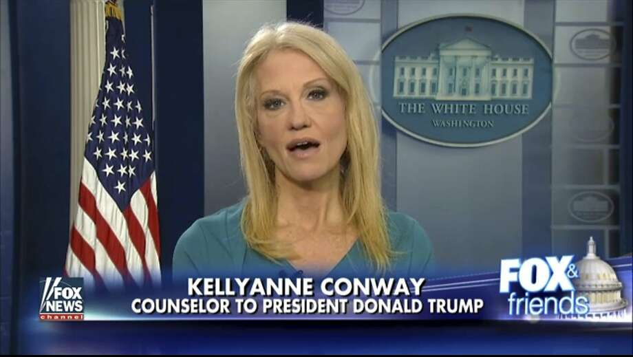 """This frame grab from video provided by Fox News shows White House adviser Kellyanne during her interview with Fox News Fox and Friends, Thursday, Feb. 9, 2017, in the briefing room of the White House in Washington. Conway defended Ivanka Trump's fashion company, telling Fox News that Trump is a """"successful businesswoman"""" and people should give the company their business. (Fox News via AP) Photo: Associated Press"""