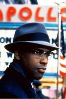 """Movie still from the movie """"Malcolm X,"""" with Denzel Washington as Malcolm X.  Ran on: 02-06-2005   Ran on: 11-12-2010 Denzel Washington's portrayal of Malcolm X helped the eponymous film rate highly with fans."""