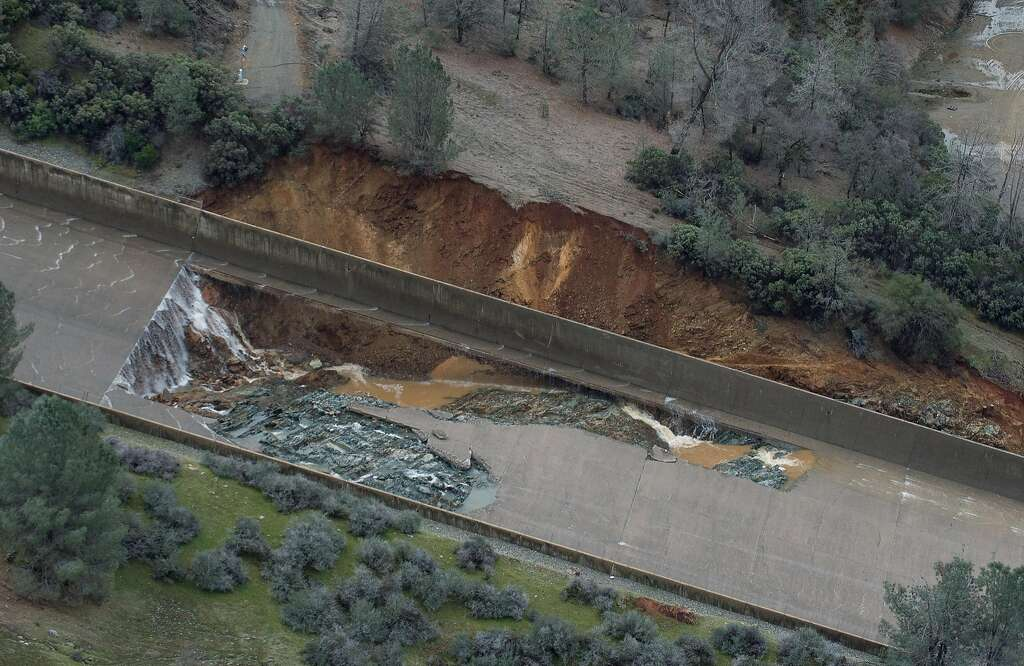 The California Department of Water Resources has suspended flows from the Oroville Dam spillway after a concrete section eroded on the middle section of the spillway. There is no anticipated threat to the dam or the public. DWR engineers are assessing the options to repair the spillway and control the reservoir water level. The Butte County facility is the tallest dam in the United States at 770 feet and is a key part of the State Water Project. Photo taken February 7, 2017. Kelly M. Grow/ California Department of Water Resources Photo: Kelly M. Grow, California Department Of Water Resources