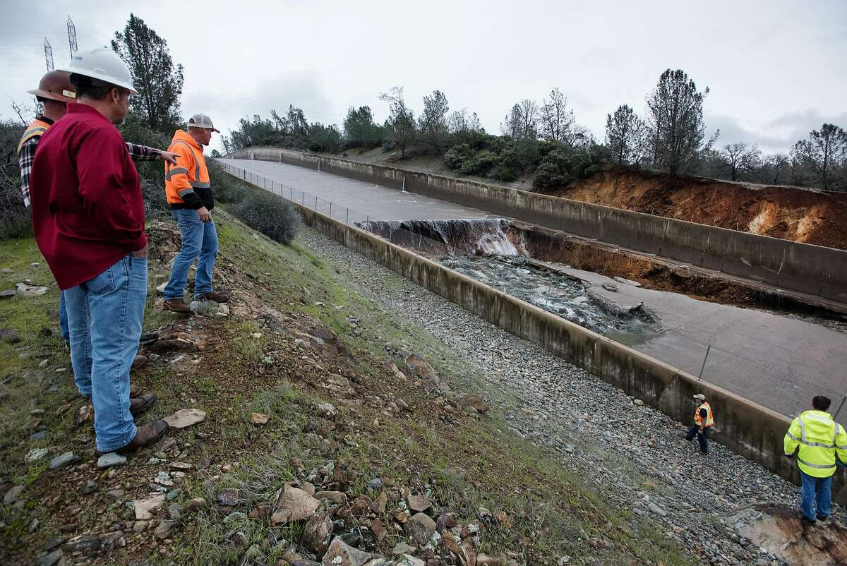 Feb. 7, 2017: State engineers assess options to repair the spillway The California Department of Water Resources has suspended flows from the Oroville Dam spillway after a concrete section eroded on the middle section of the spillway. There is no anticipated threat to the dam or the public. DWR engineers are assessing the options to repair the spillway and control the reservoir water level. The Butte County facility is the tallest dam in the United States at 770 feet and is a key part of the State Water Project. Photo taken February 7, 2017.