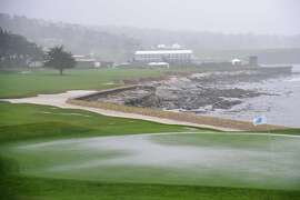 PEBBLE BEACH, CA - FEBRUARY 09:  Play is suspended during Round One of the AT&T Pebble Beach Pro-Am due to inclement weather at Pebble Beach Golf Links on February 9, 2017 in Pebble Beach, California.  (Photo by Harry How/Getty Images)