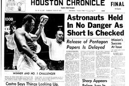 Houston Chronicle front page - July 27, 1971 - section 1, page 1.  WINNER AND NO. 1 CHALLENGER.