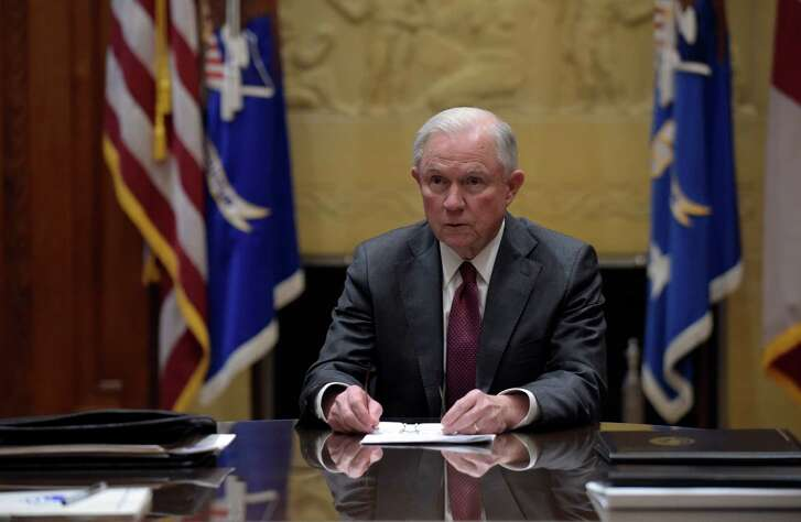 WASHINGTON, DC - FEBRUARY 9:  Attorney General Jeff Sessions holds a meeting with the heads of federal law enforcement components at the Department of Justice February 9, 2017 in Washington, DC. Earlier in the day Sessions was sworn in by Vice President Mike Pence. (Photo by Susan Walsh-Pool/Getty Images)