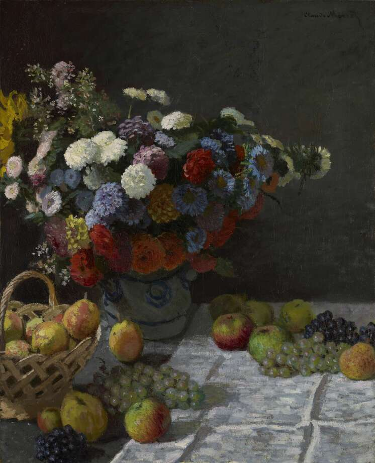 "Claude Monet, ""Still Life with Flowers and Fruit,"" 1869. Oil on canvas, 100.3 x 81.3 cm (39 1/2 x 32 in.).  Photo: The J. Paul Getty Museum, Los Angeles."