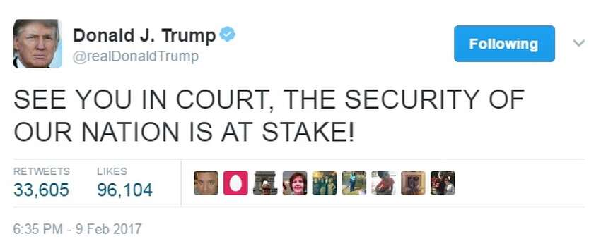 Twitter reacts to court ruling on Trump travel ban A federal appeals court refused to reinstate President Donald Trump's ban on travelers on Feb. 9, 2017. Trump and others had a variety of reactions to the decision on social media. Image source: Twitter
