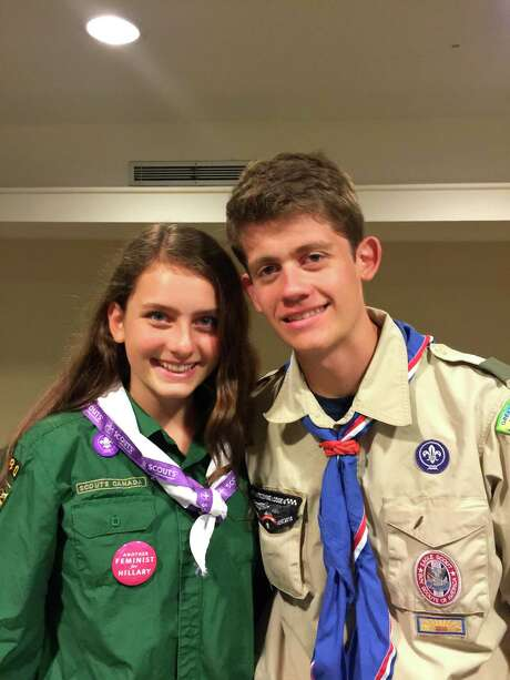This June 2016 provided by their father, Gary Ireland, shows 15-year-old Sydney Ireland, left, with her bother, Bryan, who is an Eagle Scout. Photo: Gary Ireland, HONS / Gary Ireland
