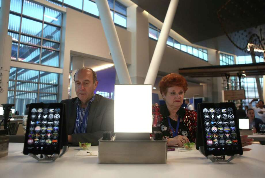Get in some screen time Terminal C North at George Bush Intercontinental Airport has a bank of iPads you can play on. Photo: Mark Mulligan, Staff / © 2017 Houston Chronicle