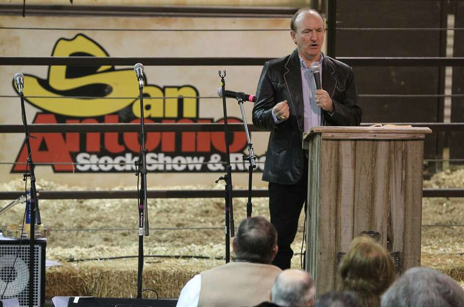 Dr. Mark Jones delivers the Sunday sermon at the Cowboy Church Sunday February 12, 2012 at the San Antonio Stock Show & Rodeo. John Davenport/San Antonio Express-News Photo: JOHN DAVENPORT, STAFF / SAN ANTONIO EXPRESS-NEWS / SAN ANTONIO EXPRESS-NEWS (Photo can be sold to the public)