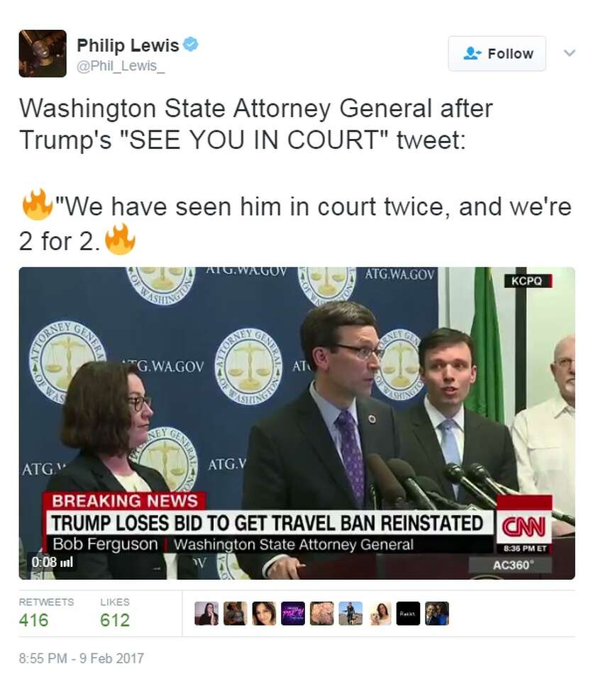 A federal appeals court refused to reinstate President Donald Trump's ban on travelers on Feb. 9, 2017. Trump and others had a variety of reactions to the decision on social media. Image source: Twitter