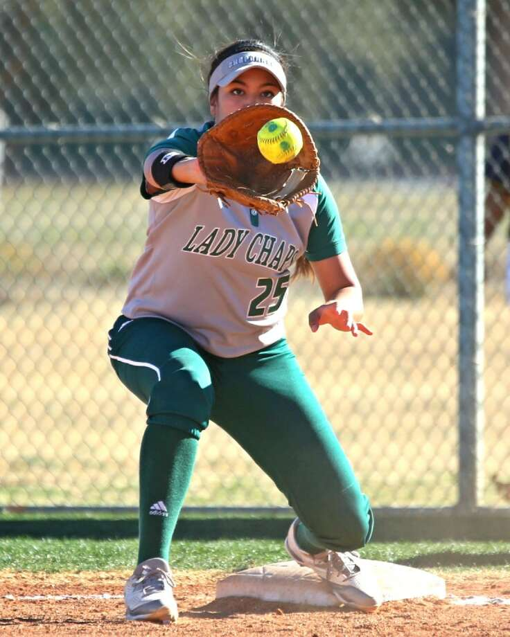 Midland College first baseman Bianca Cerda looks to make a catch against Trinidad State Junior College on Thursday afternoon at the Midland College softball field. Photo courtesy of Forrest Allen/Midland College Athletics