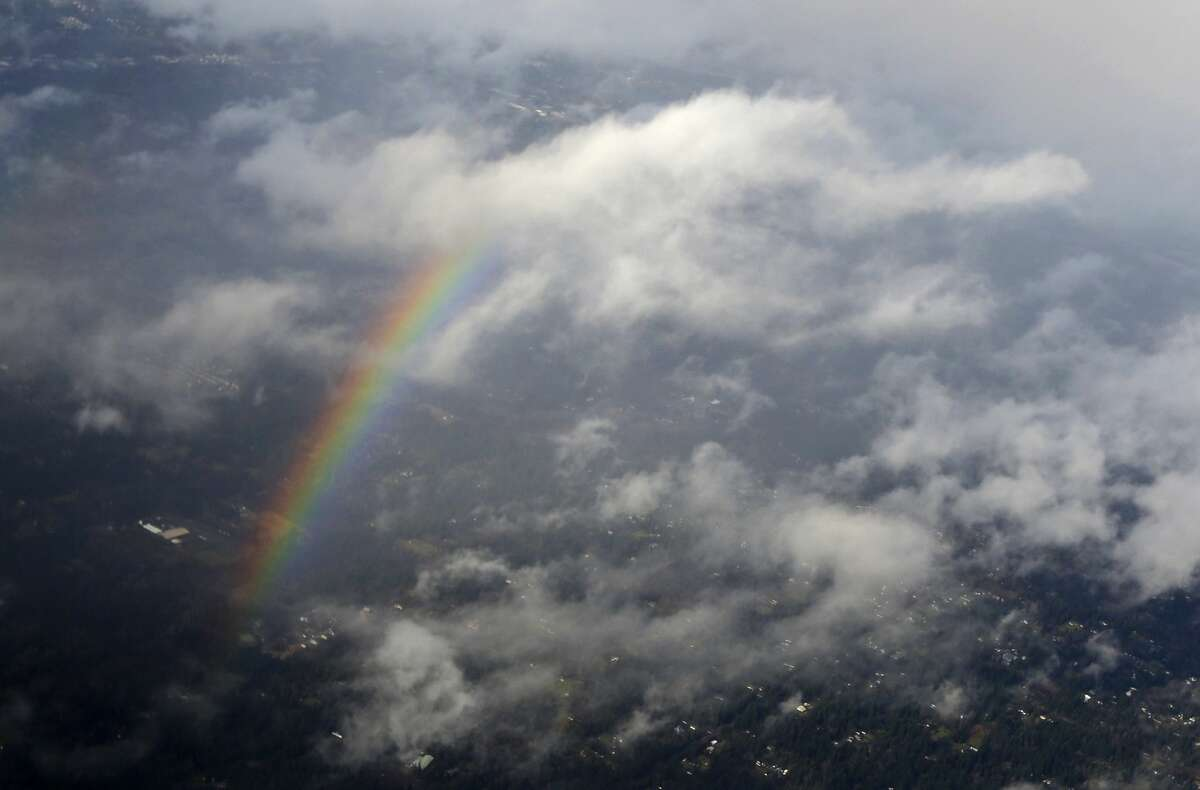 Seattle Feb. 9 precipitation: 1.63 inches In a typical February, Seattle sees about 1.2 inches of rain -- all month. But this year, the area has seen 5.46 inches of rain in the first nine days. Pictured: A rainbow is seen from the air, Thursday, Feb. 9, 2017, north of Seattle near Woodinville. Sun breaks and rain were the rule of the day for the Seattle area, while snow and ice gripped cities further north.