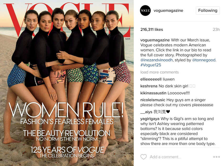 Vogue is accused of Photoshopping techniques to make plus-sizemodel Ashley Graham look smaller in her recent Vogue cover. Source: Instagram