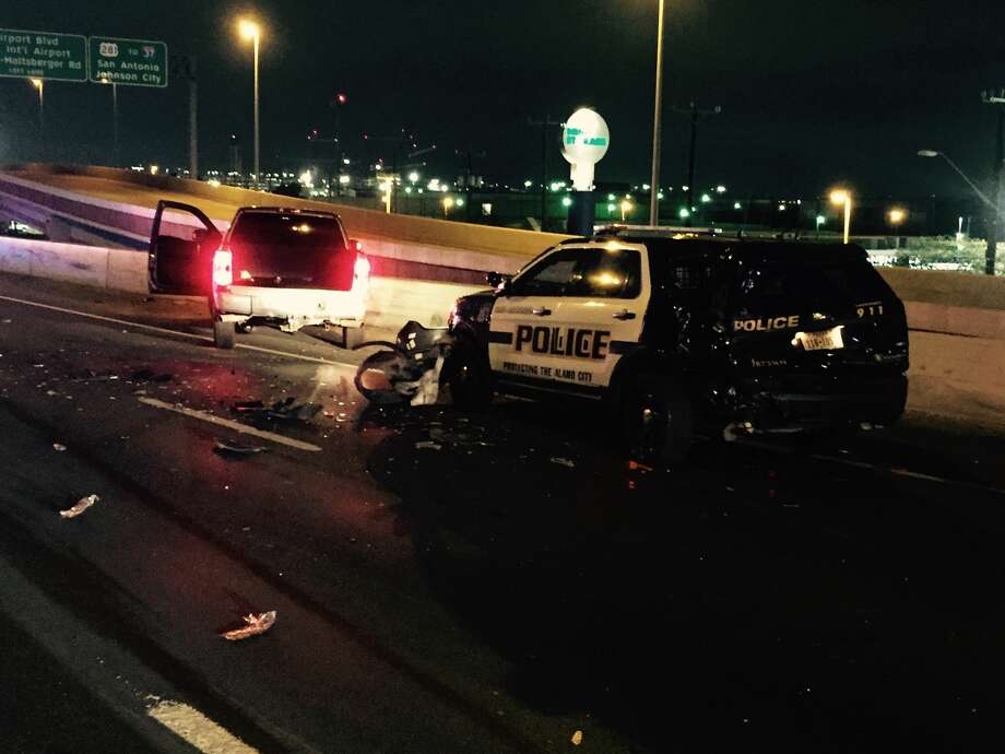 According to Ofc. Doug Green, a spokesman for the San Antonio Police Department, the officer's vehicle was rear ended by a Chevy Truck around 1 a.m. Friday, Feb. 10, 2017, near Loop 410 and U.S. Highway 281. Photo: San Antonio Police Department