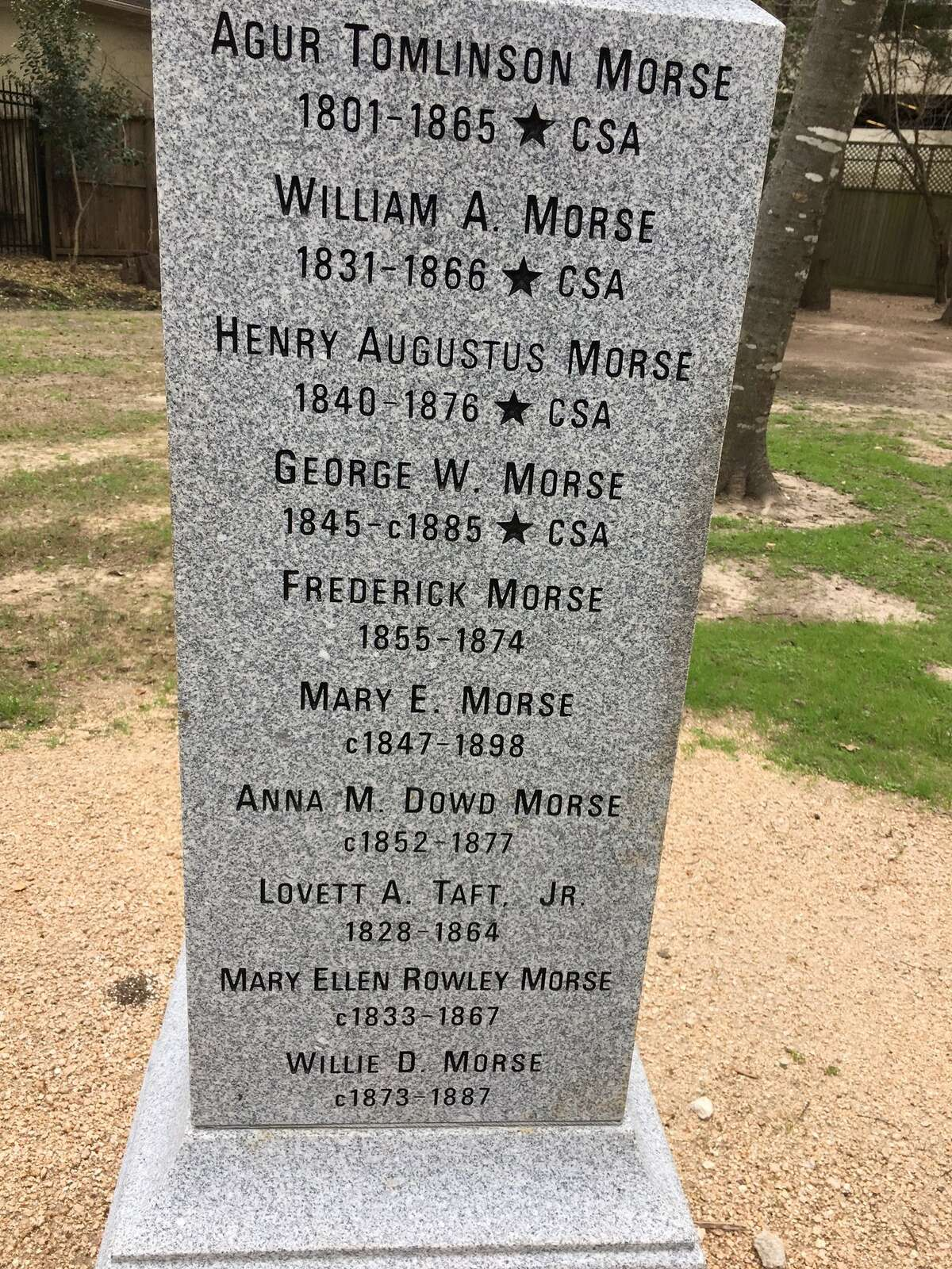 An obelisk bears the names of those buried at the Morse-Bragg cemetery.
