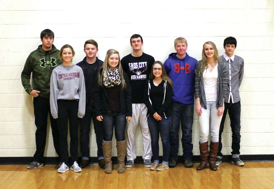 Cass City High School's Snowcoming king and queen candidates are, from left, Logan Schenk, Josie Loomis, Joey Morrish, McKaela Mika, Kyle Schmotzer, Alexus Bates, Eric Guinther, Cali Richardson and Seth Osentoski. Missing from the photo is Victoria Cumper. Photo: Submitted Photo