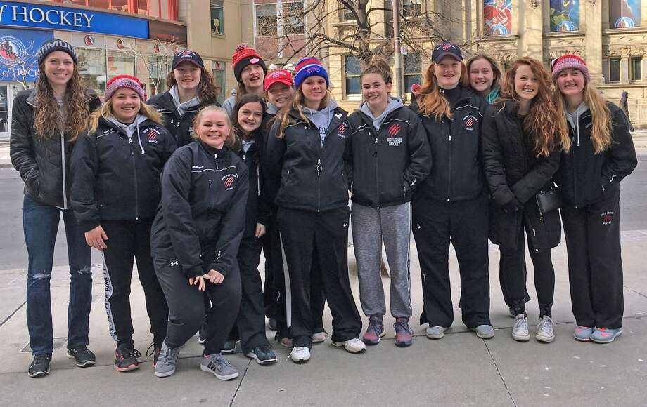 The Snow Leopards, a girls U19 team from the Thumb, had a successful trip to Toronto, winning the Brampton Girls Hockey Tournament. The team is seen here in front of the Hockey Hall of Fame. Members are Marissa Schiller, Lauren Aymen, Abbi Drews, Kyla Gilbert, Karli Kreger, Macey White, Dana Weitenberner, Lindsay Westphal, Josie Fitzpatrick, Anna Dhooghe, Claudia Fitzpatrick, Tess McManaman and Emma Hembrough. Lexi Vogel was unable to make the trip this weekend due to a family funeral. (Courtesy Photo)