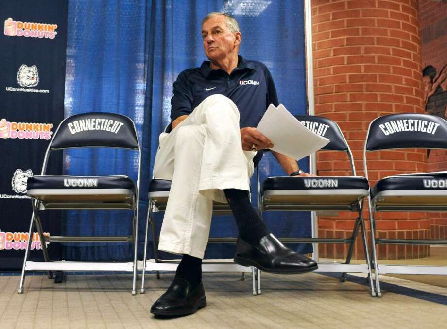 Connecticut basketball head coach Jim Calhoun listens at a news conference in Storrs, Conn., Friday, May 28, 2010.  The university says the NCAA has found eight violations in the school's men's basketball program. (AP Photo/Jessica Hill) Photo: Jessica Hill, AP / AP2010