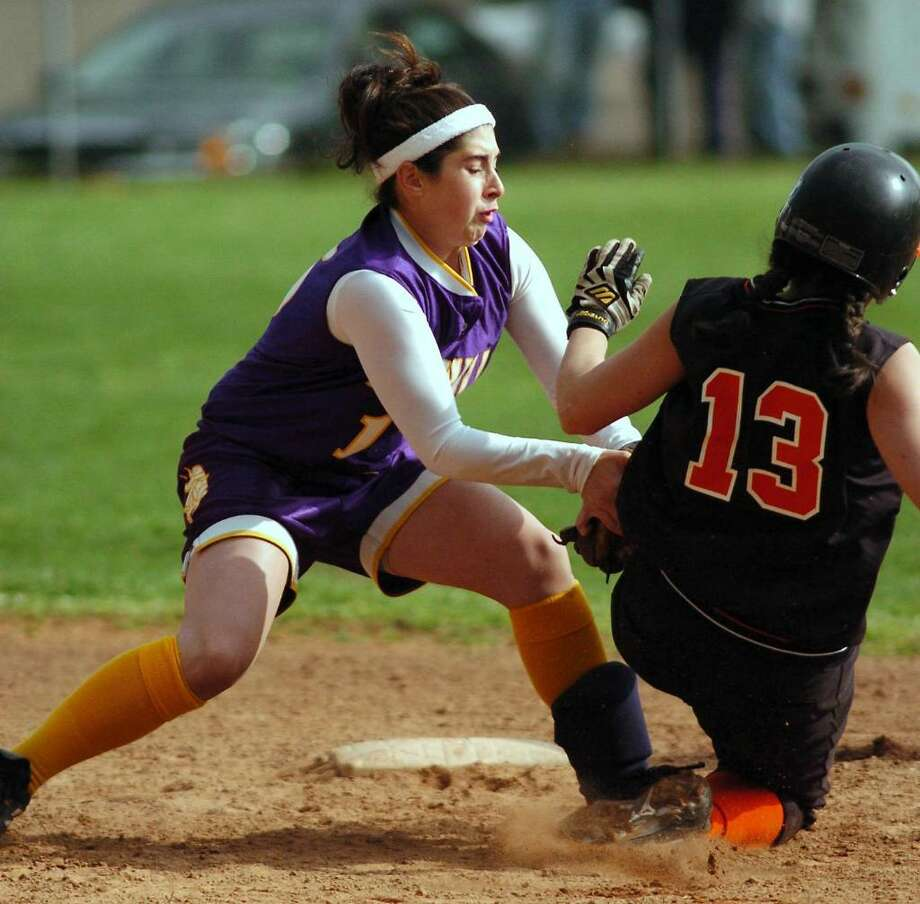 2005: Westhill's Rachel Sottosanti puts the tag on Stamford's Annie Cordeiro at second base on an attempted steal during action at Westhill. Photo: File Photo / Stamford Advocate File Photo