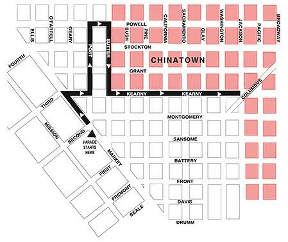 The route for the Chinese New Year Parade, which will start 5:15 p.m. at Second and Market streets on Saturday, February 11, 2017.