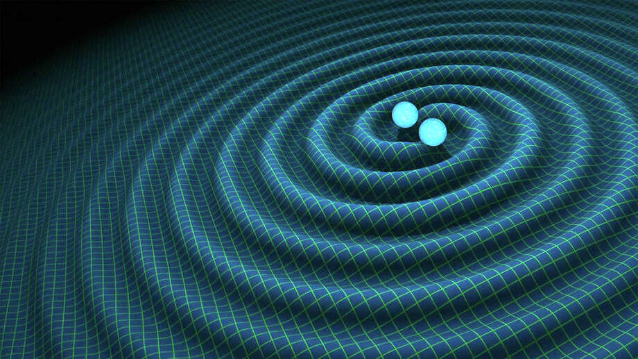 In this image, two black holes collide, creating gravitational waves, ripples in space/time.