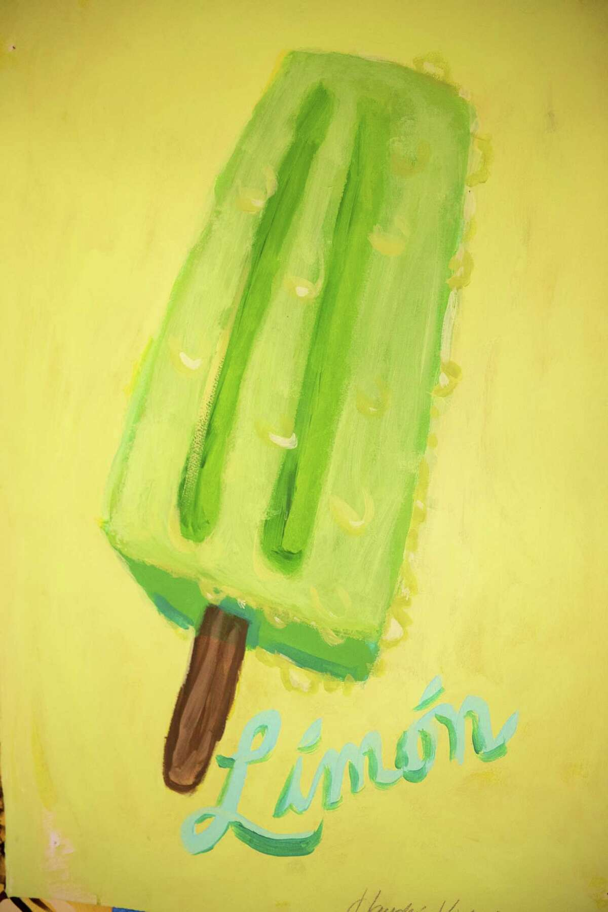 A paleta is one of the stand-ins for the staff in artist Victoria Suescums reinterpretation of traditional tarot card symbols.