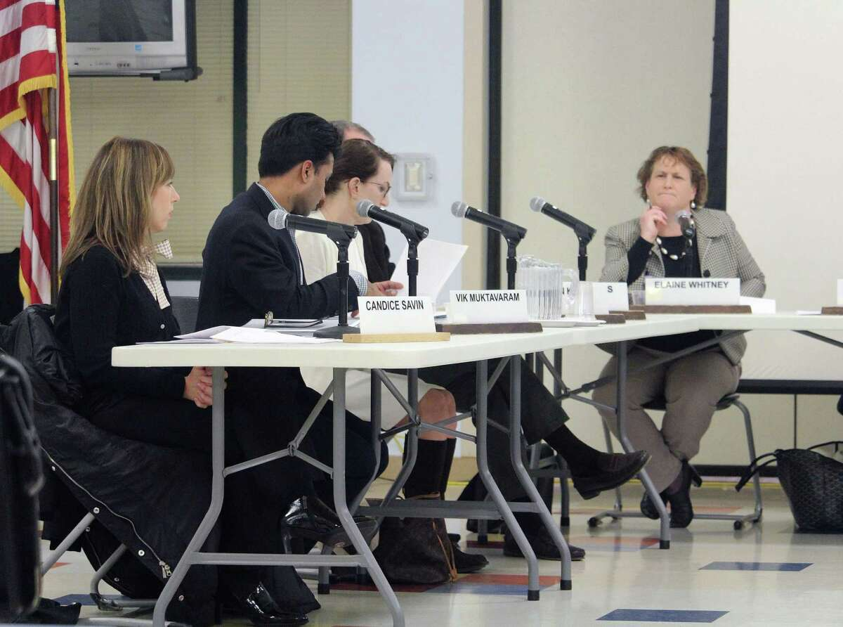 Board of Education members discuss bus cameras to catch reckless drivers during the board's Jan. 30 meeting in Westport.
