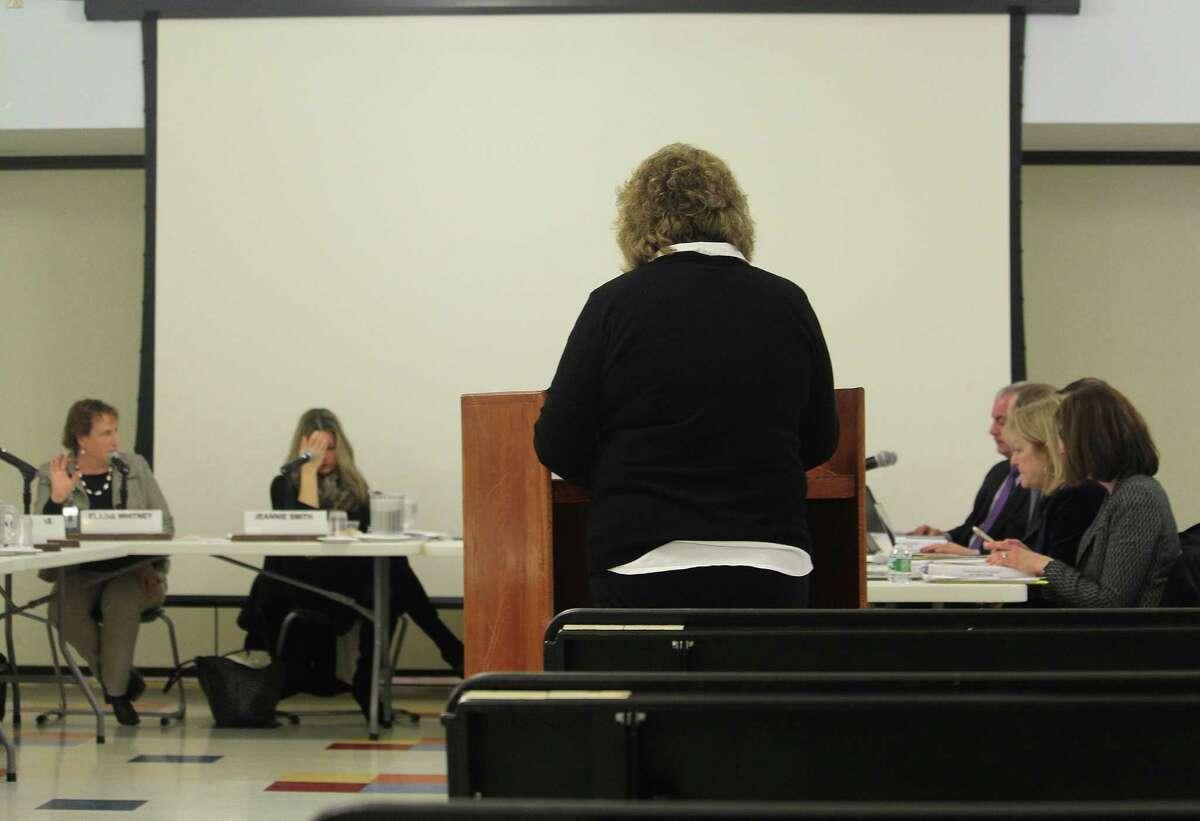 School district Transportation Coordinator Sandra Evangelista addresses the Board of Education in Westport, Conn. on Jan. 30, 2017.