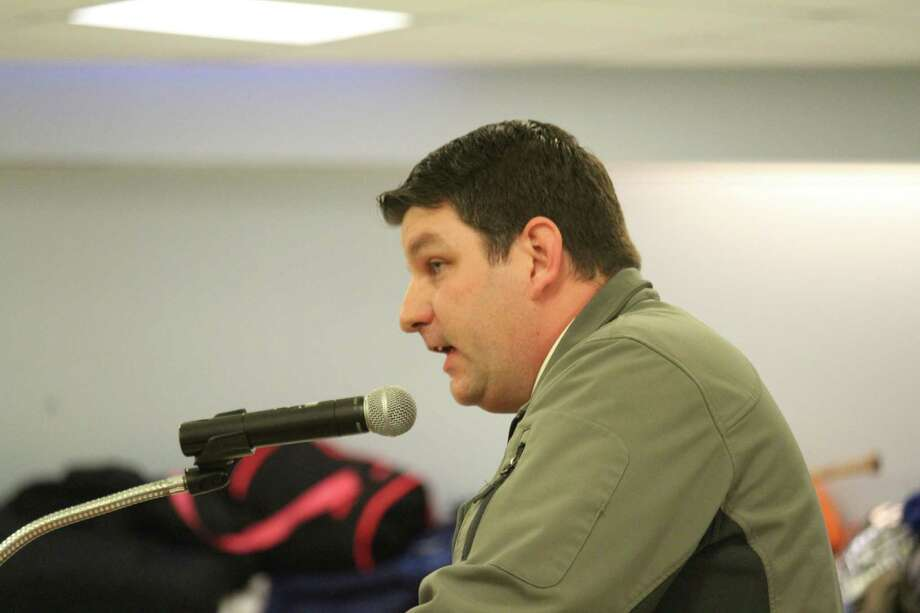 Michael Aitkenhead, a science teacher at Staples, speaks at the Feb. 6 Board of Education meeting. He said Linda McClarys child development instruction was influential for his two children who went through the program. Photo: Chris Marquette / Hearst Connecticut Media / Westport News