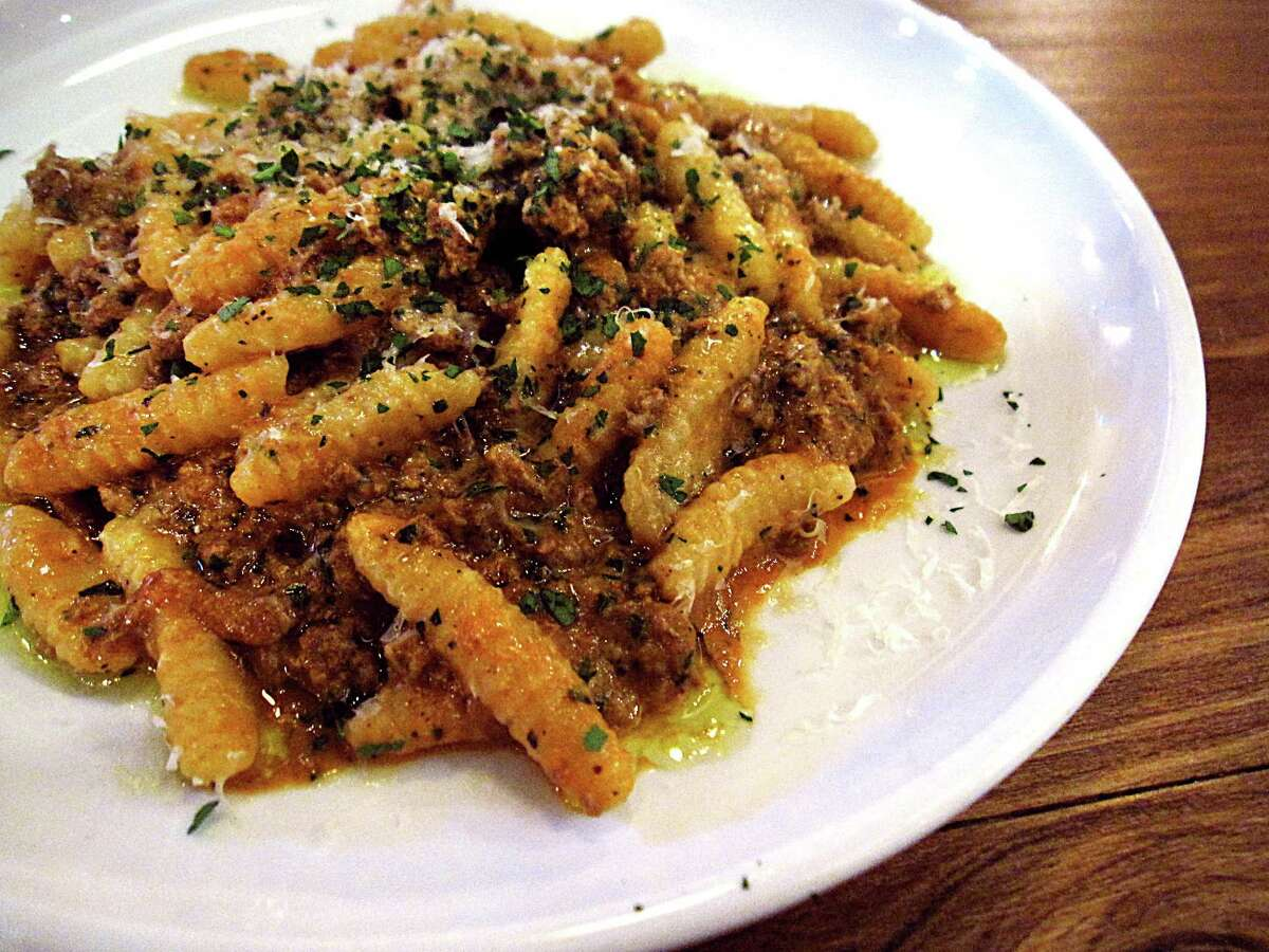 Chicken liver Bolognese with housemade cavatelli pasta at Periphery restaurant on North Main Avenue in San Antonio.