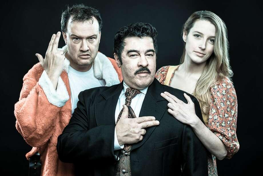 "John Brown (left), Derrick Silva and Kelli Schultz in Bay Area Musicals' ""Assassins."" Photo: Ben Krantz, Bay Area Musicals"