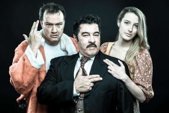 "From left:�John Brown, Derrick Silva and Kelli Schultz in Bay Area Musicals' ""Assassins."""