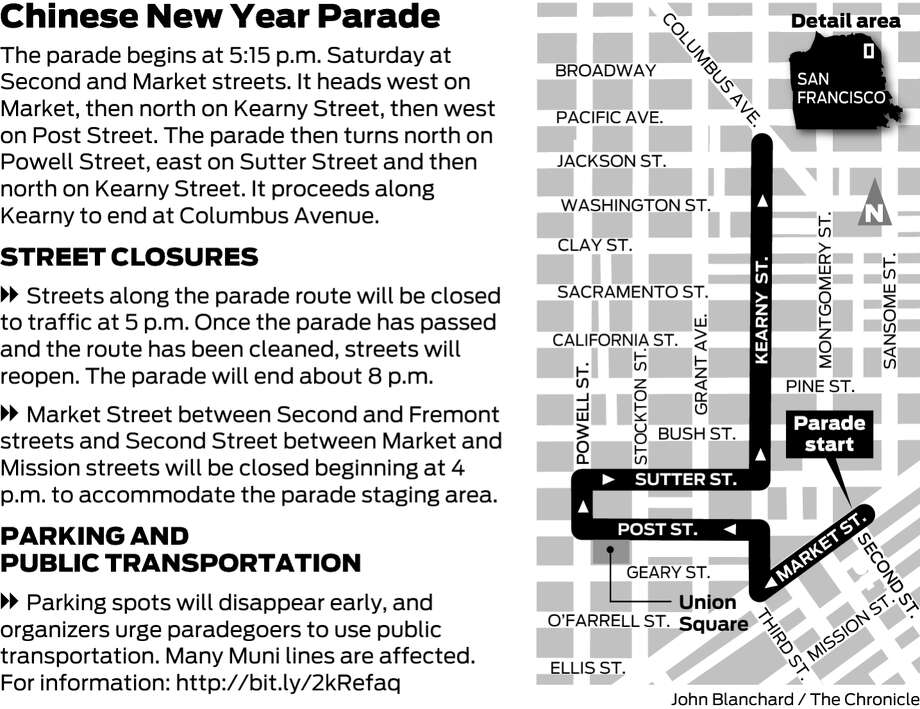 The 2017 Chinese New Year Parade route.
